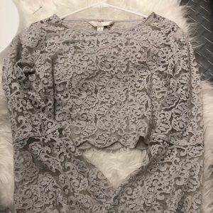 Lauren Conrad Lace Bell Sleeve Crop Top